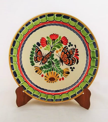 mexican plates dinner plate folk art mexico hand craft butterfly