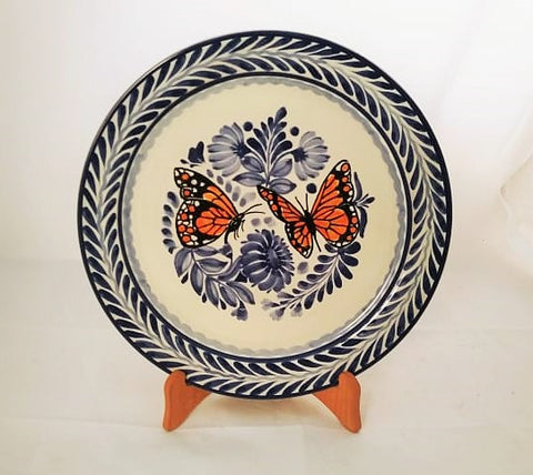 mexican plates hand craft pottery hand made butterfly dinner plate gorky workshop mexico