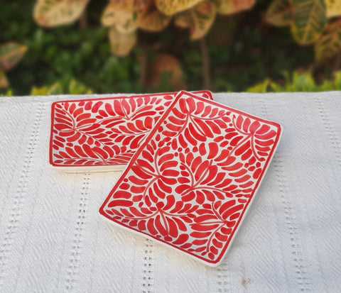 Rectagular Mini Bread Plates-Ceramics-Handmade-Hand Painted-Mexican Pottery-Gorky Pottery-Tradicional-Decoration-Kitchen-Table Top- Table Settings- Tebale Set UP- Eat Different