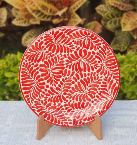 Red Milestone Pattern Plates-Ceramics-Handmade-Hand Painted-Mexican Pottery-Gorky Pottery-Tradicional-Decoration-Kitchen-Table Top- Table Settings- Tebale Set UP- Eat Different