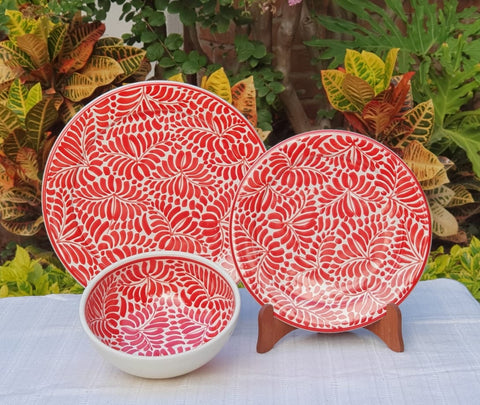 Red Milestone Plates-Ceramics-Handmade-Hand Painted-Mexican Pottery-Gorky Pottery-Tradicional-Decoration-Kitchen-Table Top- Table Settings- Tebale Set UP- Eat Different