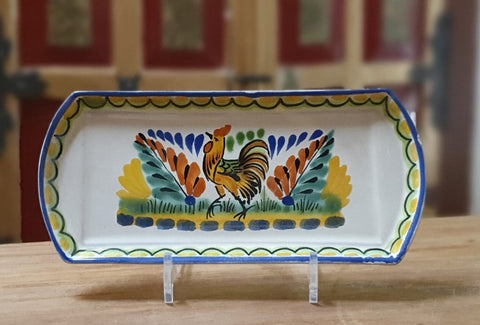Rooster- Chickens-Gallos-Tray-Rectangular-Animals-Serving-Dinner-Salad plates-Mexico--hand thowrn-Handmade- hand-painted-mexican-pottery-GorkyGonzalez-Gorky Pottery