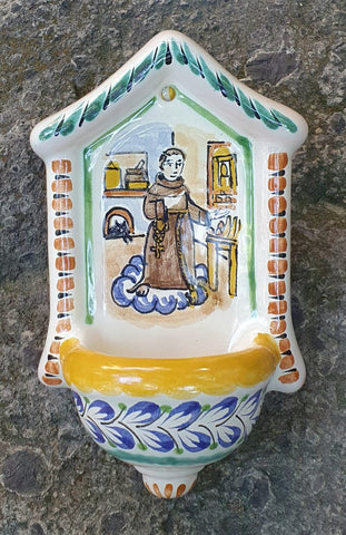 Saint Pascual-Mexican Culture-Kitchen Saint-Religion-Mexican-pottery-Hand made- Hand painted-Mexican traditions-Gorky Pottery-mexican ceramic decor folk art pottery  piece majolica