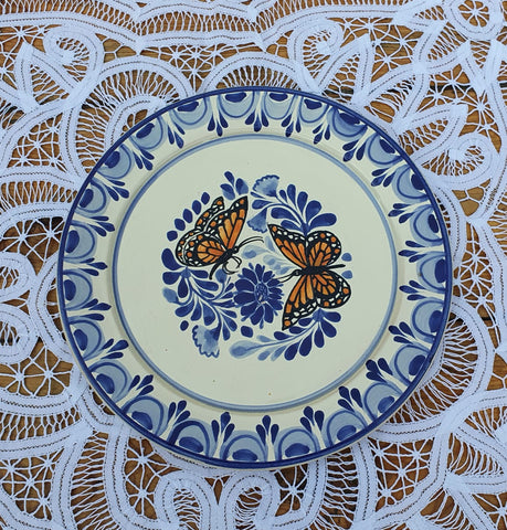 mexico ceramics salad plate dinner decor table butterfly motives
