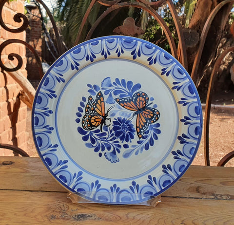 mexico ceramics charger dinner plate folk art hand painted butterfly