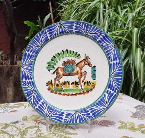 mexican-plates-donkey-pattern-hand-craft-ceramic-hand-made-mexico