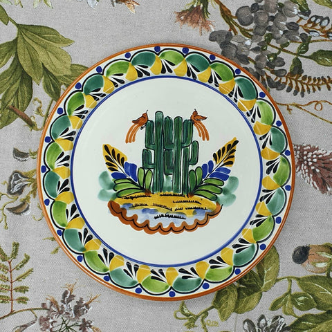 mexican charger dinner plate dinnerware cactus folk art mexico
