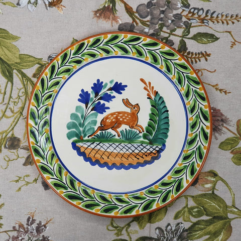 mexican plates dinner setting table decor talavera majolica deer motive