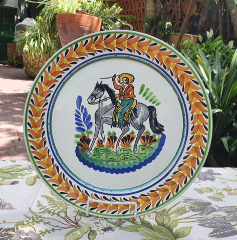mexican plates charger dinner plate folk art cowboy