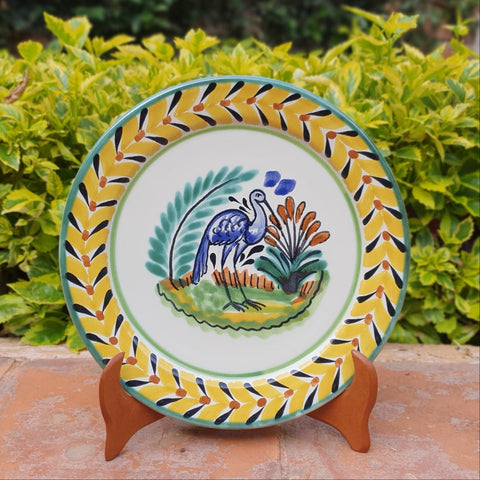 mexican plated charger dinner plates heron motive folk art