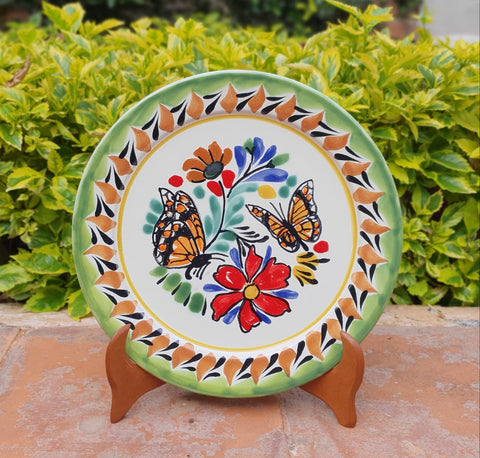 mexican plates charger dinner plate folk art hand painted butterfly motives
