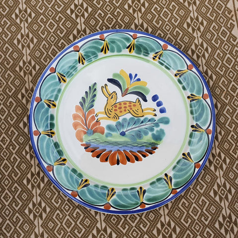 mexican plates dinner decor majolica deer motive folk art mexico