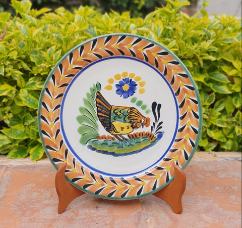 mexico ceramics charger dinner plate hand made rooster motives