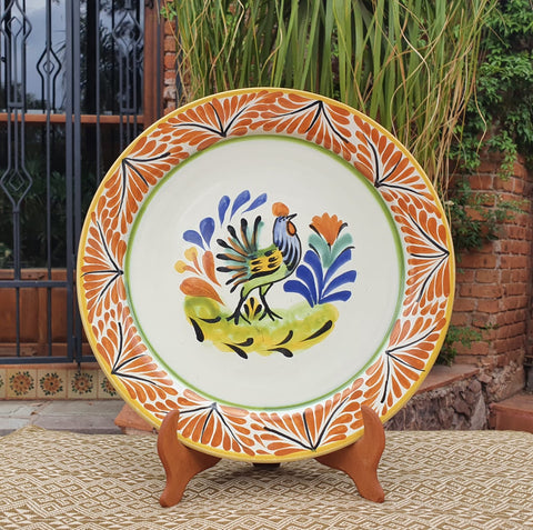 mexican plates charger dinner plate folk art rooster motive