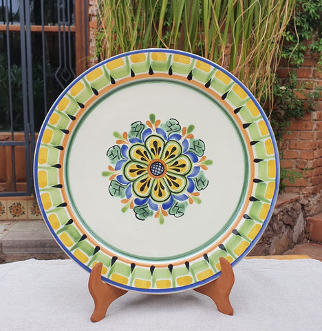 mexico ceramics charger dinner plates hand made flower motive table decor