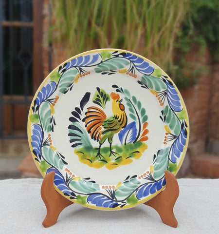 mexican plates dinnerware table decor folk art rooster