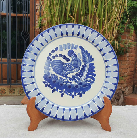 mexican-plates-blue-talavera-rooster-design