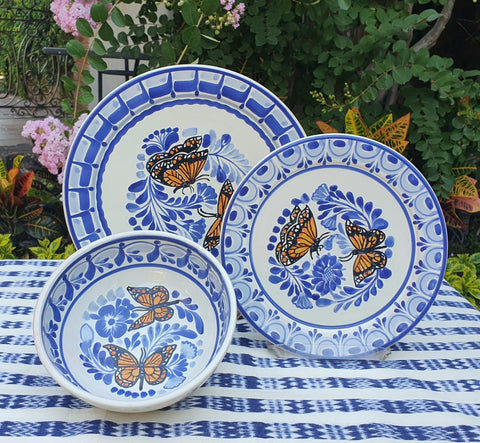 mexican dinner set butterfly motives table decor talavera majolica mexico