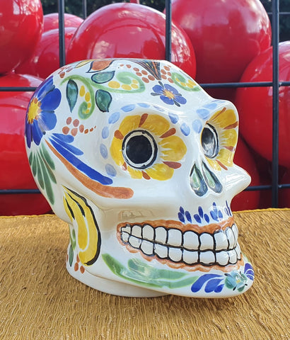 mexican ceramic skull figure catrina decorative hand painted hand craft mexico