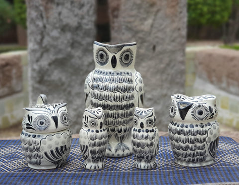 mexican pottery hand painted owl pieces majolica hand made in mexico black