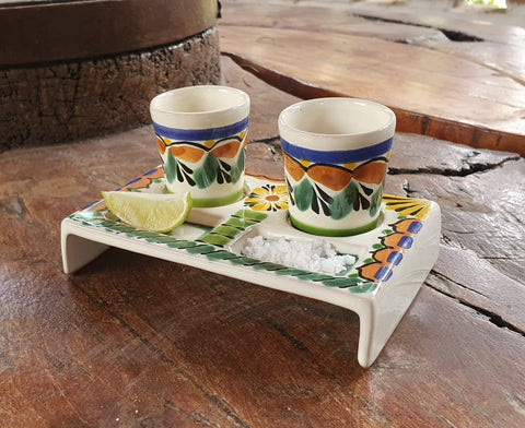 mexico ceramics pottery tequita set hand painted hand made in mexico majolica