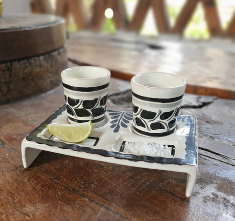 mexico ceramics pottery tequita set hand painted hand made in mexico majolica black