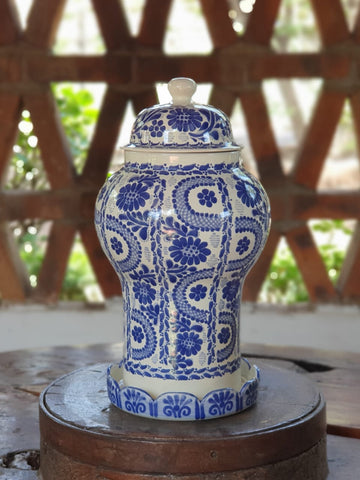 mexican pottery ceramic decorative vase for desk office home and garden blue colors talavera majolica hand made mexico