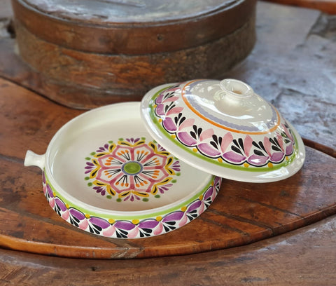 mexican tortilla holder purple colors flower motives majolica mexico