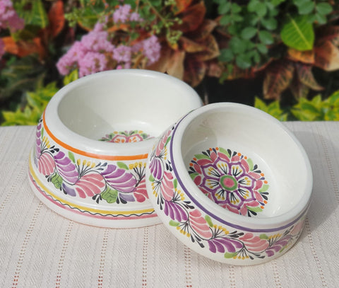 mexican pottery dog bowl ceramic for pets purple colors, hand made mexico