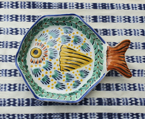 mexican plates fish plate tableware snack majolica hand crafts
