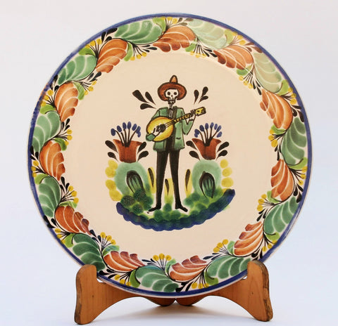 ceramic-plate-catrin-halloween-decorations-day-of-dead-mexico-majolica-talavera