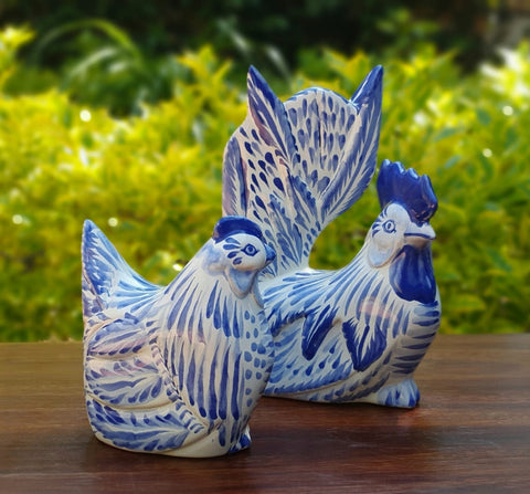 decorative-rooster-hen-chickens-table-ceramic-figures-handpainted-mexico-blue-3