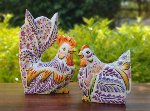 decorative-rooster-hen-chickens-table-ceramic-figures-handpainted-mexico-purple-3