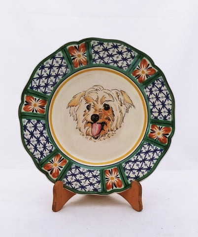 dog-plate-handcrafts-majolica-talavera-handpainted-mexico