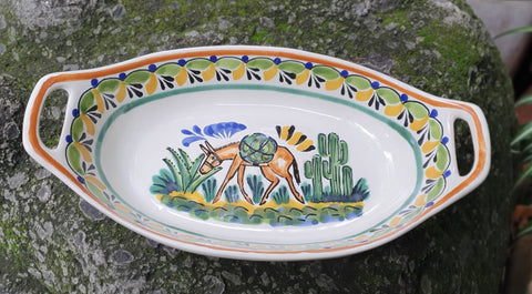 Donkey-oval serving plates-ceramic-hand-painted-Mexican-Pottery-Ceramics-Handmade- Hand Painted- Gorky Pottery-Donkey-Burro-Traditions-Table set ups-Multi colors