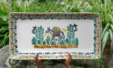 Donkey-trays-ceramic-hand-painted-Mexican-Pottery-Ceramics-Handmade- Hand Painted- Gorky Pottery-Donkey-Burro-Traditions-Table set ups-Multi colors