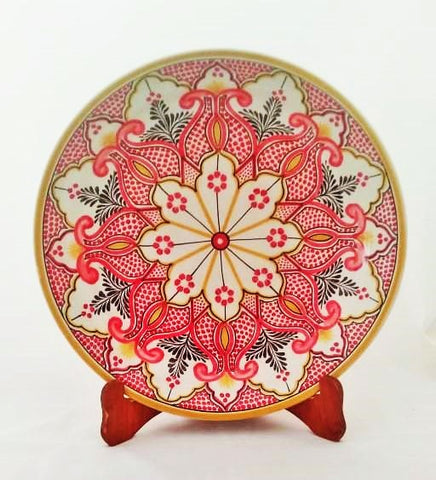 mexican-ceramic-decorative-red-platter-pomegranate-hand-painted-mayolica-mexico-special-gift