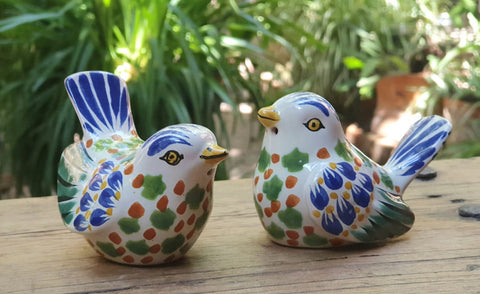 mexican-ceramic-love-birds-decorative-salt-and-pepper-shaker-table top-hand painted-hand crafted-kitchen-eat different