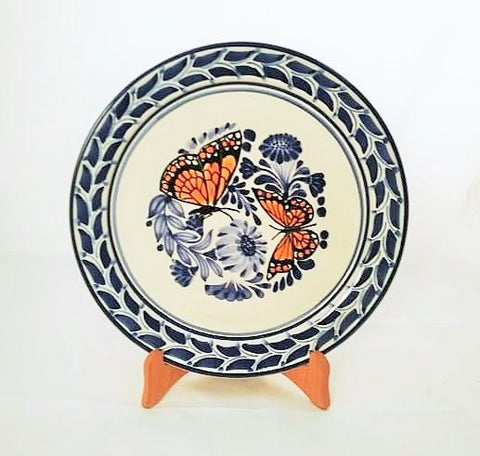 mexican-plates-ceramic-hand-made-mexico-majolica-butterfly-pattern-tablesetting-ideas