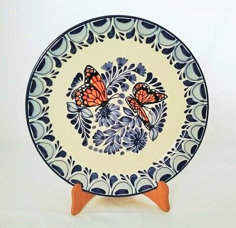 mexican-plates-ceramic-hand-made-mexico-majolica-butterfly-pattern