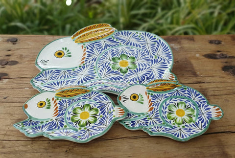 rabbit-plates-ceramic-hand-painted-Mexican-Pottery-Ceramics-Handmade- Hand Painted- Gorky Pottery-Easter-Easter Rabbit-Easter Egg-Pascua-Conejo-Traditions-Table set up