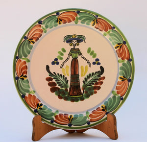 "Catrina Dinner Plate 10"" D Green-Terracota Colors - Mexican Pottery by Gorky Gonzalez"