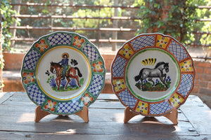 "Cowboy Flower Shape Dinner Plate Set of 2 in colors 11"" D"