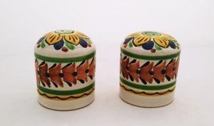 Large Cilindrical Salt and Pepper Shaker Set Brown-Blue Colors