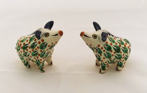 Wild Pig Salt and Pepper Shaker Set Green Colors