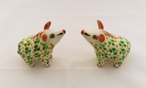 Wild Pig Salt and Pepper Shaker Set Green-Yellow Colors