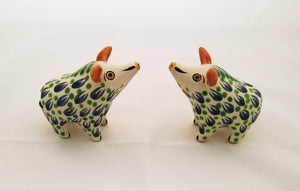 Wild Pig Salt and Pepper Shaker Set Blue-Green Colors
