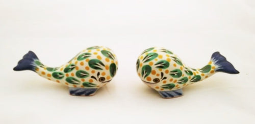 Whale Salt and Pepper Shaker Set Green-Yellow Colors