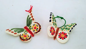 Ornament Butterfly flowers pattern Set of 2
