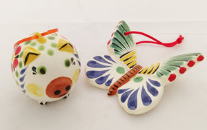 Ornament Pig and Butterfly Set of 2